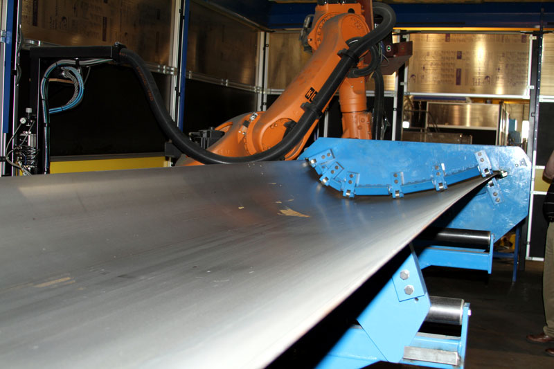 Curved Rail Car Roof with Robotic Plasma Cut Off