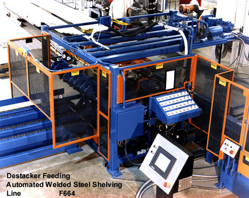 Destacker feeding Automated Welded Steel Shelving