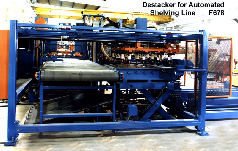 Destacker for Automated Shelving Line